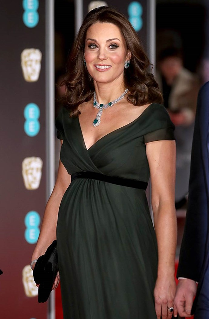 What a vision... This royal turned to one of her favourite designers, Jenny Packham, when it came to frocking up for the 2018 BAFTAS in February. This unexpected, deep, forest-green-coloured gown is as refreshing as Catherine's pregnancy glow.
