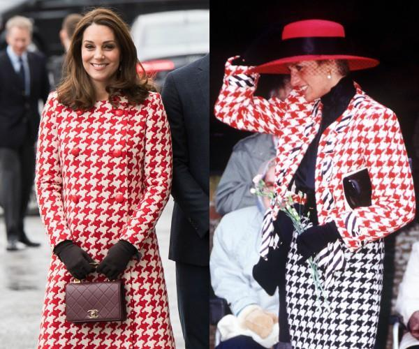 There's more to this red-and-white houndstooth coat that meets the eye. While Catherine's coat, which she wore during the royal tour of Sweden, certainly packs a fashionating punch, it also appears to be similar to that of her late-mother-in-law Princess Diana's style.