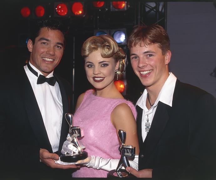 **Dean Cain**  Superman flew in to present an award in 1995. He handed over a gong to Dieter Brummer who picked up the Silver Logie for his work in *Home And Away*.