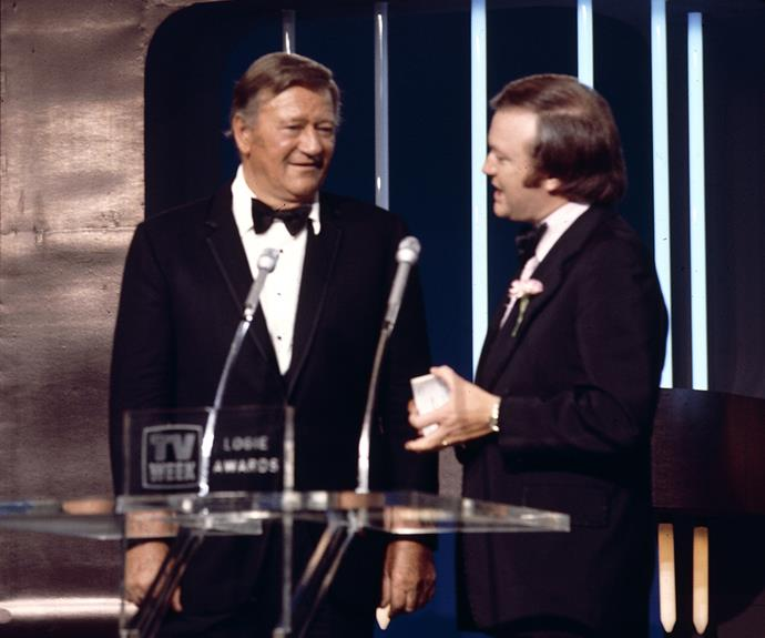 "**John Wayne**  Denise Drysdale was excited to be presented with her Gold Logie by John Wayne in 1976.  ""I thought I'd died and gone to heaven,"" she says."