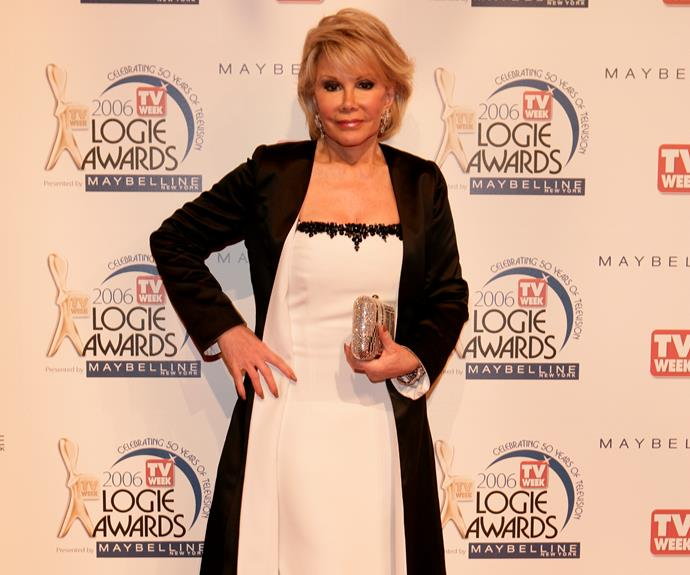 **Joan Rivers**  Joan Rivers made a memorable appearance at the 2006 TV WEEK Logies.  She took to the stage to present the Most Popular Light Entertainment Logie alongside Richard Wilkins.