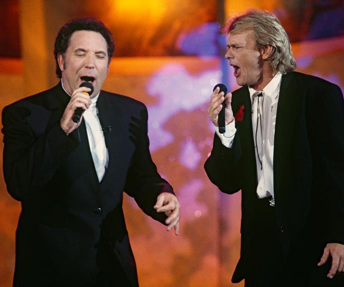 **Tom Jones**  The original sex bomb Tom Jones performed at the TV WEEK Logies in 1993.  He did a song with John Farnham that had the audience up dancing.