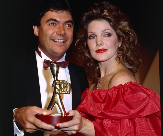 **Priscilla Presley**  Host Daryl Somers struck a pose on the red carpet with international guest Priscilla Presley at the 1997 TV WEEK Logies.