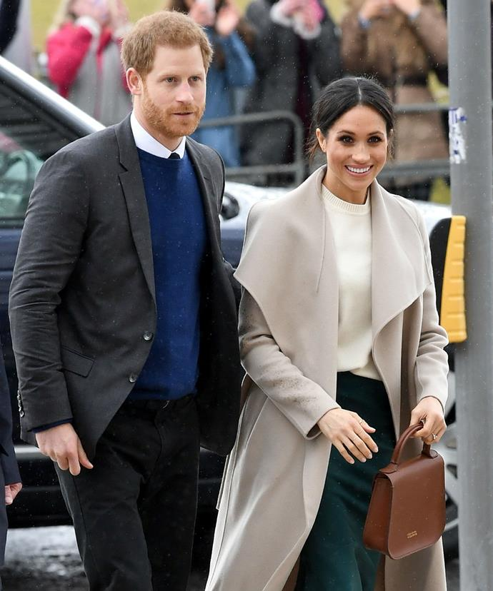 "During a [surprise visit to Northern Ireland](https://www.nowtolove.com.au/celebrity/celeb-news/meghan-markle-talks-baby-plans-during-visit-to-belfast-45986|target=""_blank"") the royal-to-be opted for midi skirt by Greta Constantine which she accented the forrest green number with a cream Victoria Beckham sweater, Mackage coat, Charlotte Elizabeth bag, and brown velvet pumps."