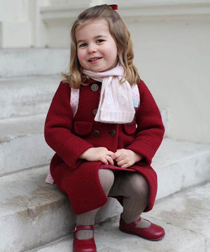 More recently, Kate marked Charlotte's first day at nursery school with a series of adorable portraits.