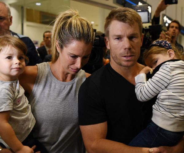 The young family made an emotional first appearance at Sydney airport following the cheating scandal.