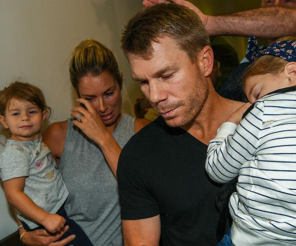 Comforted by his wife Candice, the embattled cricketer was intent on getting his two young daughters to bed.