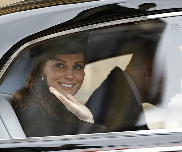 Kate is eight months pregnant with her third child and due at the end of April.