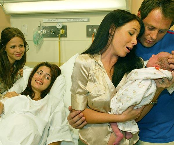**Surrogate for Sally:** Leah offered to be a surrogate for Sally (Kate Ritchie) and Flynn (Joel McIlroy).  The pregnancy tested the best friends, but they overcame their problems to welcome Pippa Saunders in 2004.