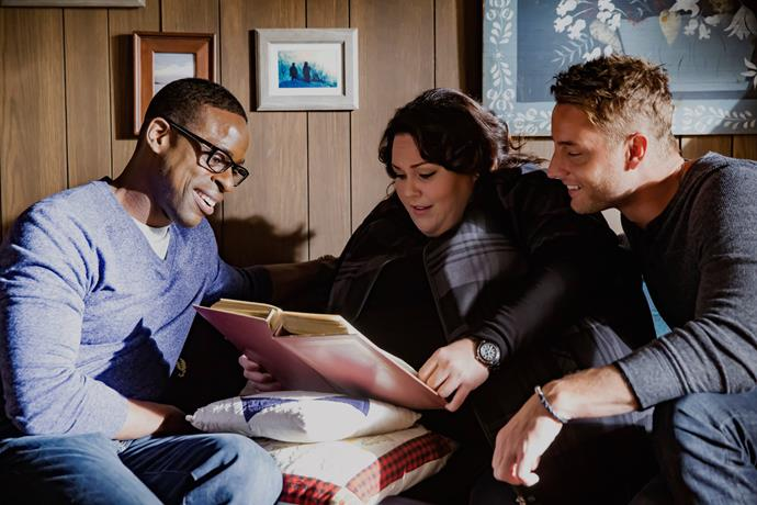 With *This Is Us* co-stars Chrissy Metz and Justin Hartley.