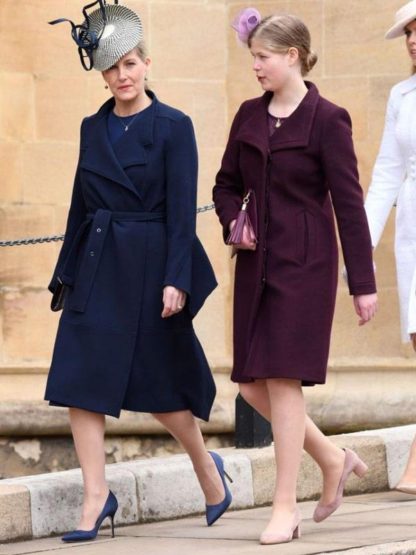 Sophie of Wessex pictured with Lady Louise during the Easter church service.