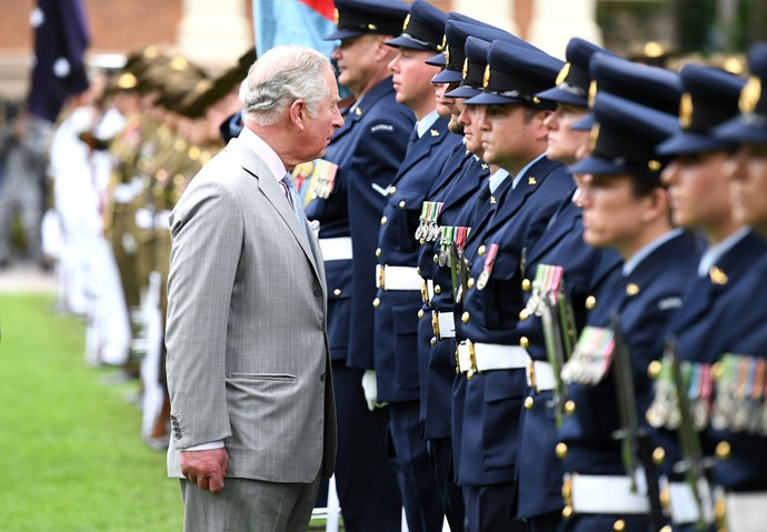 Prince Charles inspecting the Australian Federation Guard in Brisbane during the first day of his and Camilla's Australian tour.