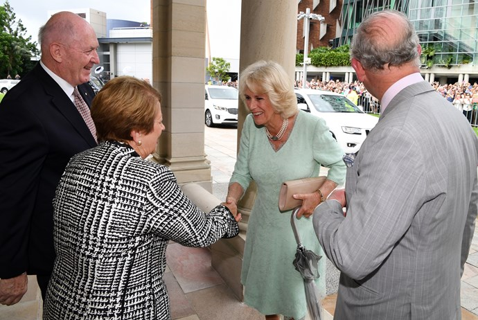 The Duchess of Cornwall shaking hands with the Governor-General Sir Peter Cosgrove's wife, Lynne.