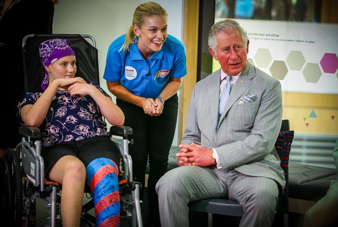 Charles and Abbi shared jokes during Prince Charles and Camilla's visit to Lady Cilento Children's Hospital.