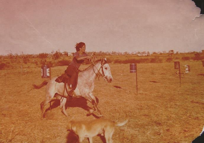 Me working one of the horses.