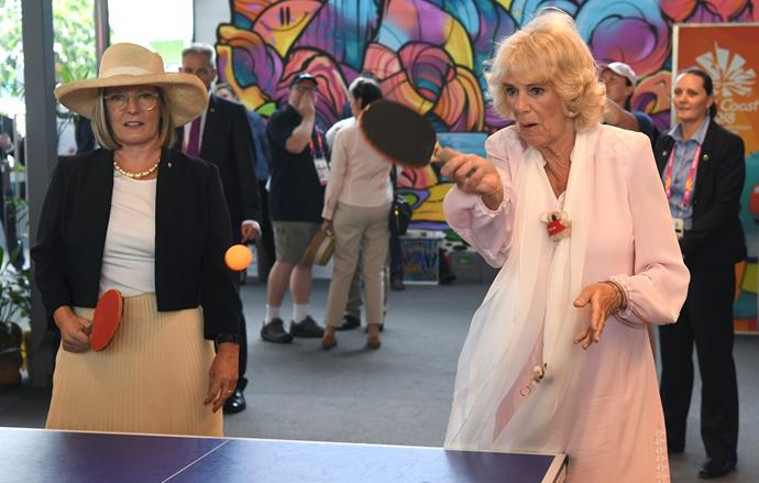 Look out, Lleyton... Camilla appears to have Lucy in awe of her smashing forehand.