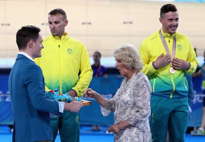 Like Charles, Camilla presented medals to cycling winners at the Games.