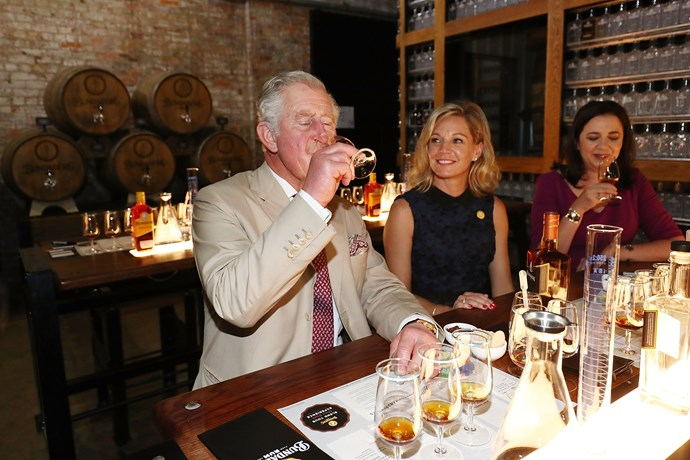 This isn't the first time Charles has visited this distillery...