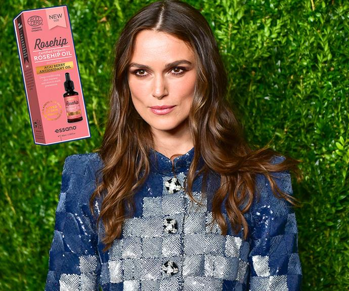 "Keia Knightly is a busy jet-setting actress with little time to care for her complexion. But, instead of spending a small fortune on top-shelf products, this English Rose keeps her skin glowing with what some call the holy grail of skincare, affordable rosehip oil. ""I completely fail to keep myself on an even keel with my skincare when traveling, but I have just discovered rosehip oil, which a friend of mine recommended,"" the actress recently told [British *Vogue*](http://www.vogue.co.uk/article/keira-knightley-beauty-interview