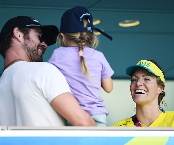 Aussie swimmer Emily Seebohm greets Chris and India and we're not sure who's more excited to meet who!