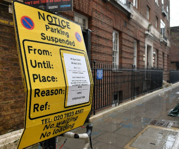 Temporary parking restrictions are in place outside the Lindo Wing at the Paddington-based St. Mary's Hospital, signaling the imminent arrival of royal baby number three.