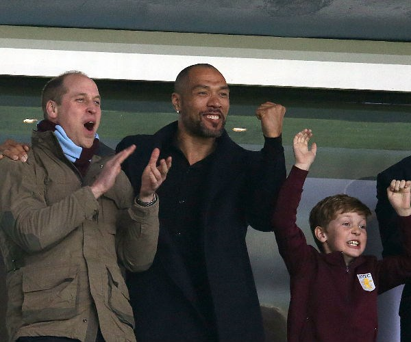 Prince William took a night off parenting duties to attend the Aston Villa vs Cardiff City football match.