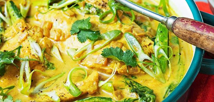 "Not only does Tumeric helps stimulate digestive bile, help relieve gas and bloating, it's also an anti-inflammatory PLUS coconut is also anti-bacterial... this is pretty much a delicious miracle elixir. [**Learn how to make turmeric and poached coconut barramundi**](http://www.foodtolove.com.au/recipes/tumeric-and-coconut-poached-barramundi-8657|target=""_blank"")"
