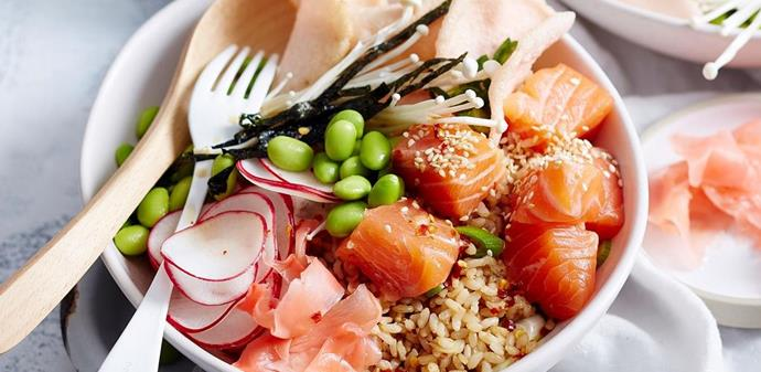 "Say goodbye to gut inflammation with this classic Hawaiian dish is perfect for a quick and healthy lunch that will leave you feeling satisfied. [**Learn how to make ginger and salmon poke bowl**](http://www.foodtolove.com.au/recipes/ginger-and-salmon-poke-bowl-34503|target=""_blank"")."