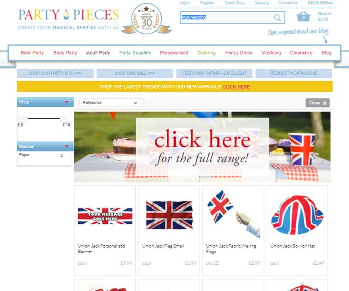 Customers of Party Pieces can search 'royal wedding' to find a large collection of Union Jack decorations.