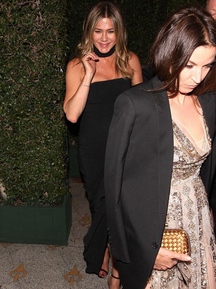 Jennifer Aniston stunned in a strapless black dress.