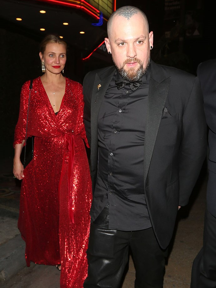 Cameron Diaz dazzled in a red sequined gown.