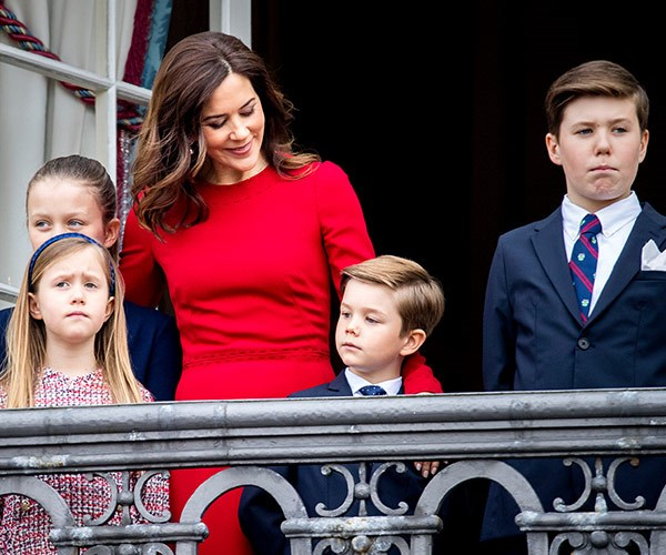 While Prince Frederik was unable to attend, Princess Mary represented their side of the family with their kids.