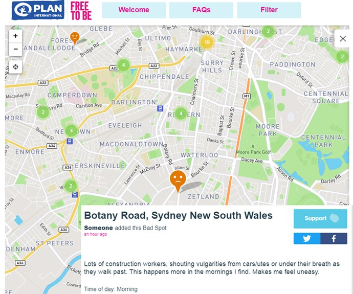 """Lots of construction workers, shouting vulgarities from cars/utes or under their breath as they walk past. This happens more in the mornings I find. Makes me feel uneasy,"" one app user next to a pinned location in Sydney."
