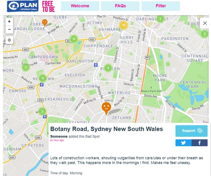 """""""Lots of construction workers, shouting vulgarities from cars/utes or under their breath as they walk past. This happens more in the mornings I find. Makes me feel uneasy,"""" one app user next to a pinned location in Sydney."""