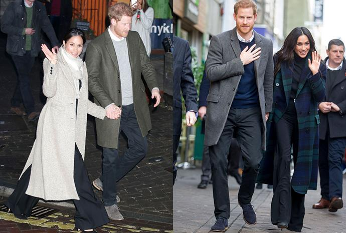 Royal trend-setter, Meghan Markle was first spotted on the left in a pair of wide-leg black trousers by Veronica Beard attending her second official royal engagement with Prince Harry in January. Only a month later she was photographed again in the same trousers on a visit to Edinburgh.