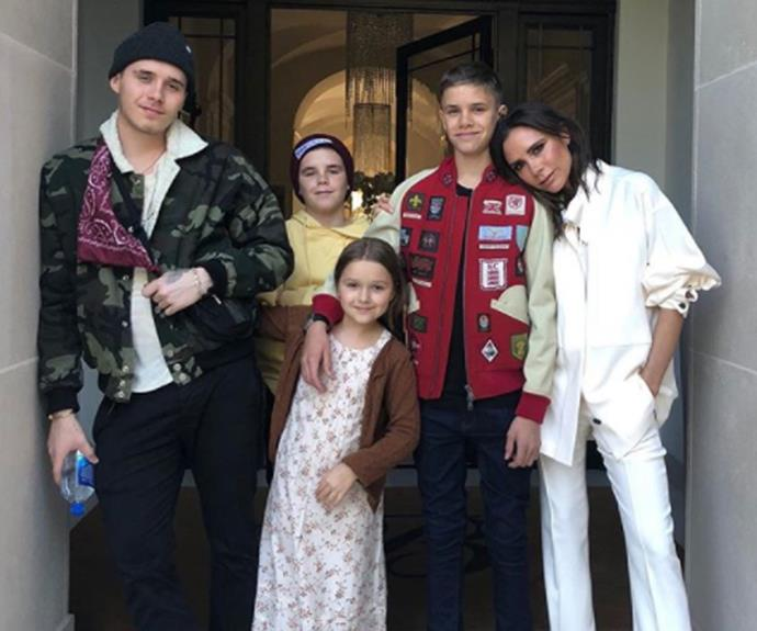 "The Beckham family know how to celebrate a birthday. On the eve of Victoria's 44th birthday, the tight-knit clan gathered to pose with the fashion designer. Both Victoria and her football star husband David posted the lovely snap. The former Spice Girl captioned her post, ""Birthday eve with my babies. Love u so much @davidbeckham kisses x,"" while David gushed: ""Happy birthday to this young lady. Amazing mummy."""