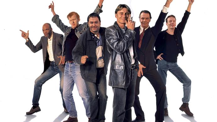 The cast of the iconic movie *The Full Monty*.