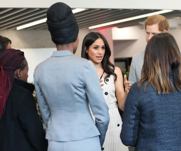 Meghan, who made royal history by attending the engagement before officially entering the royal family, worked the room with ease.
