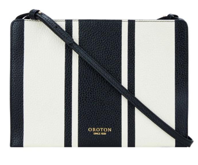 "[Avalon Zip Top Crossbody in Black and Cream, $295, from Oroton.](https://www.oroton.com.au/avalon-zip-top-crossbody-rust-mix-osfa_1001245|target=""_blank""