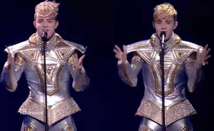 "In 2012, Ireland's Jedward – identical twins John and Edward Grimes – wore sparkly tailcoats and rounded out their song ""Waterline"" by splashing aboutin a fountain."