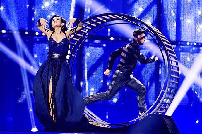In 2014, Mariya Yaremchuk of Ukraine ditched the dancers for a man in a giant hamster wheel.