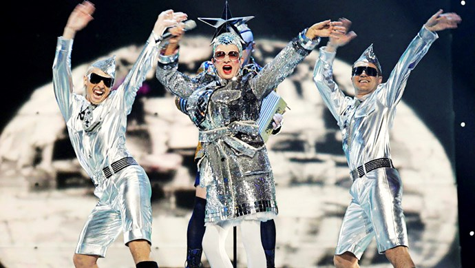 With a headpiece made from a disco ball, Ukrainian drag artist Verka Serduchka shone in 2007, taking out second place.