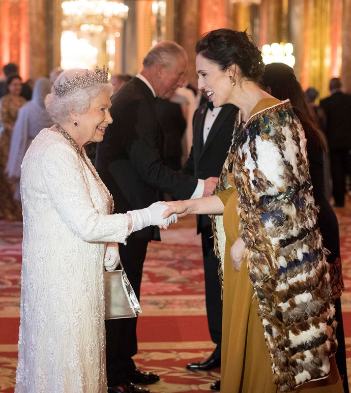 Both looking beautiful as ever, Queen Elizabeth and PM Ardern share a tender moment ahead of their Commonwealth banquet.