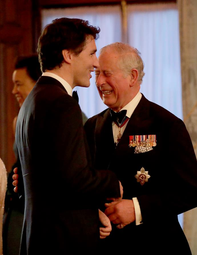 Chuckles having a chuckle with PM Trudeau.