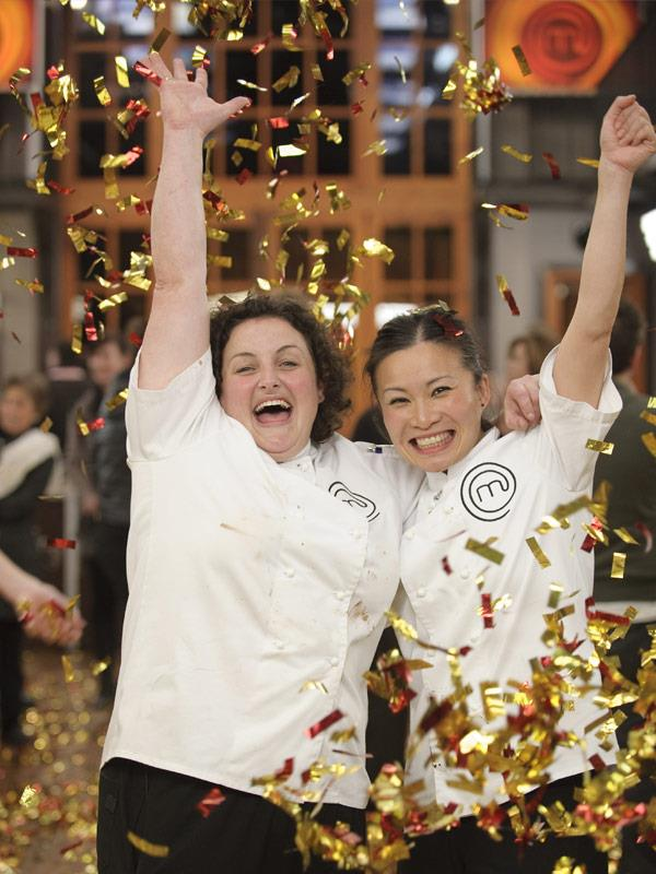 Julie, pictured with runner up Poh Ling Yeow, is the cooking show's first winner.