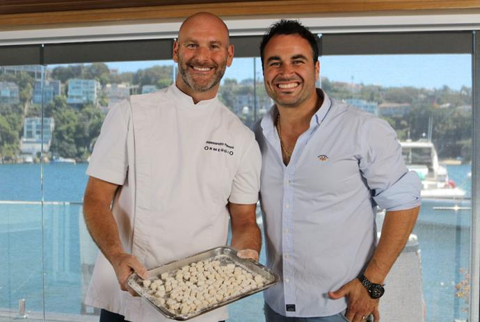 Alessandro Pavoni making gnocchi with Miguel Maestre.