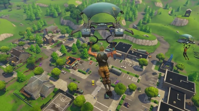 One of 100 players dropping into the Fortnite battle arena.