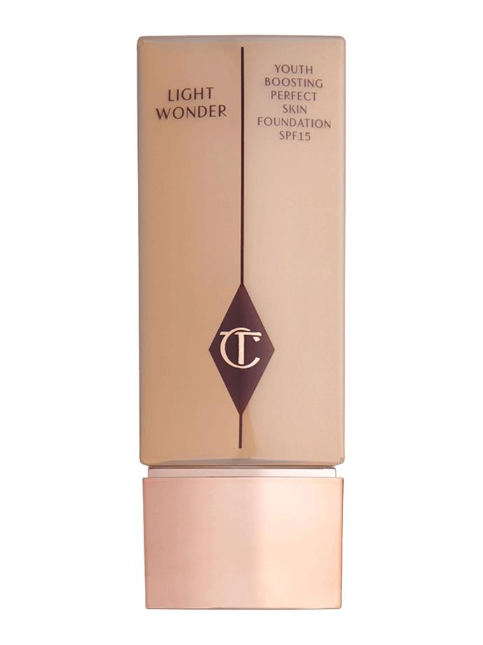 "This lightweight, [sheer foundation](http://www.charlottetilbury.com/au/light-wonder-7-medium.html|target=""_blank"") by Charlotte Tilbury is Amal's favourite."