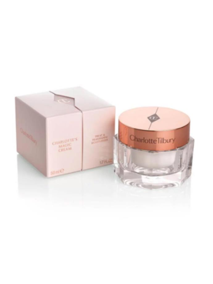 "Arguably the most important step in the process to glowing skin, moisturiser - Amal applies [Charlotte's Magic cream](http://www.charlottetilbury.com/au/charlottes-magic-cream.html?ranMID=41397&utm_source=AUSRAN&utm_medium=Affiliates&utm_campaign=TnL5HPStwNw&publisher=2116208:Skimlinks.com&linkType=10&linkName=&offerName=Skimlinks&ranEAID=TnL5HPStwNw&ranSiteID=TnL5HPStwNw-otEEYDnkSFQTHuBdBC5FqQ&SiteID=TnL5HPStwNw-otEEYDnkSFQTHuBdBC5FqQ|target=""_blank"") formulated by her trusted make-up artist Charlotte Tilbury."