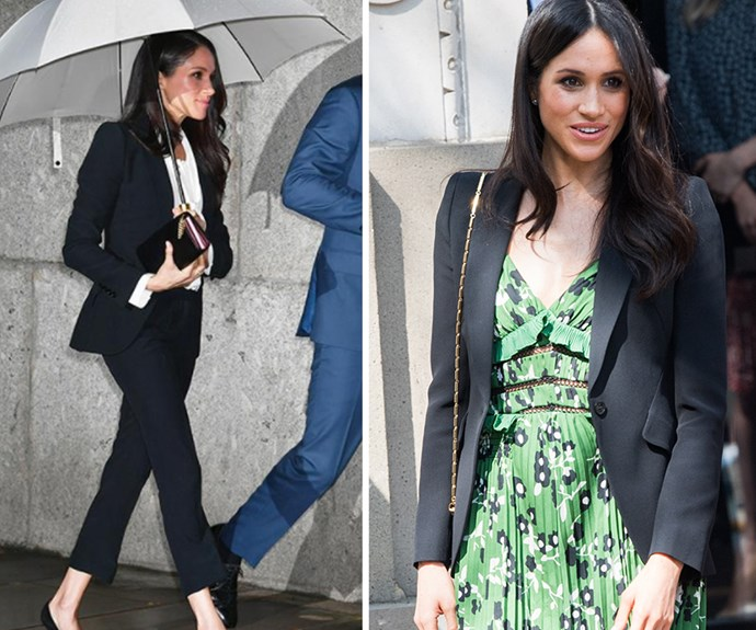 Meghan Markle made headlines when she stepped-up her sartorial style wearing an Alexander McQueen pant suit to the Endeavour Fund Awards in February. Proving she's learned from her soon-to-be royal in-laws, the former actress rewore her Alexander McQueen blazer, this time with a gorgeous green floral dress by Self Portrait to a special Invictus Games reception hosted by Australian Prime Minster Malcolm Turnbull.